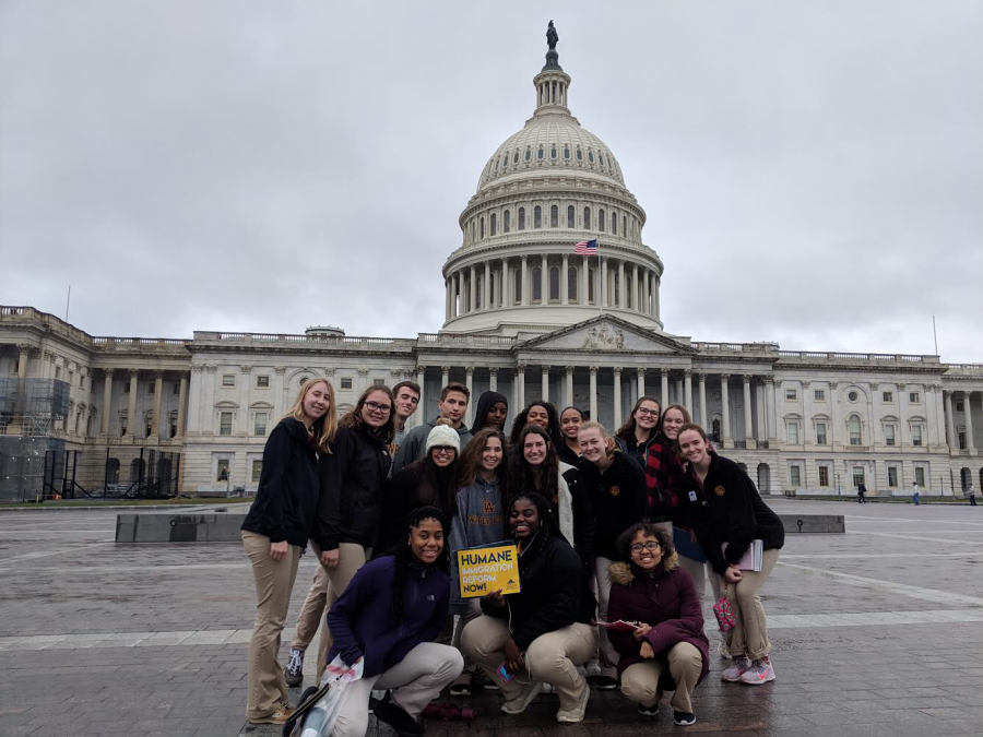 The+Loyola+group+smiles+in+front+of+the+Capitol+Building+after+their+successful+meetings+with+Representative+Schakowsky+and+Senator+Duckworth.