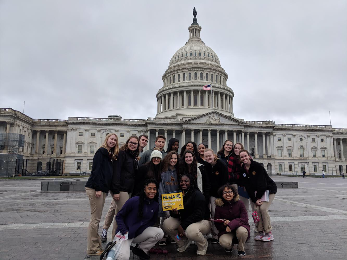 The Loyola group smiles in front of the Capitol Building after their successful meetings with Representative Schakowsky and Senator Duckworth.