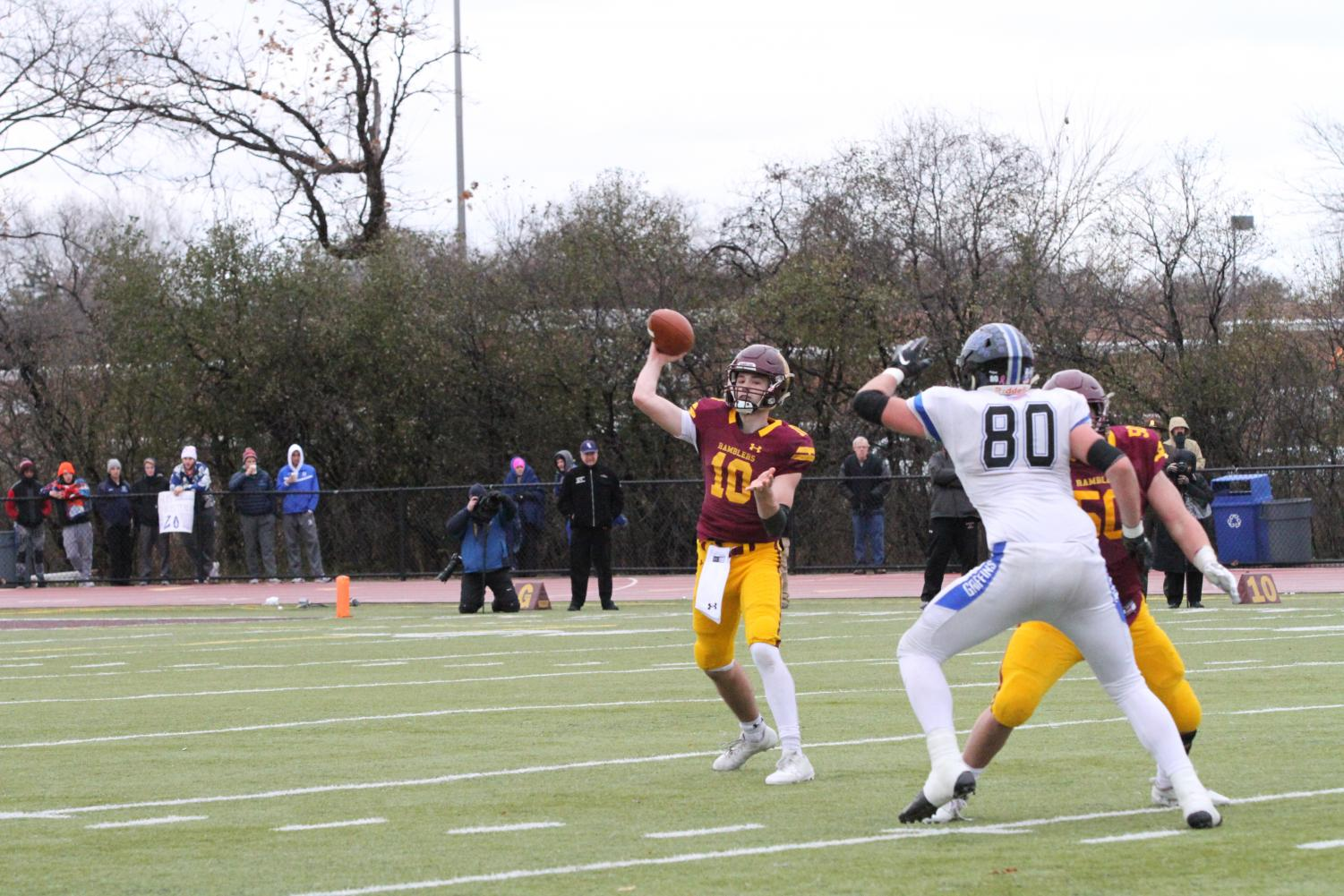 Fallon passes during the semifinal win against the undefeated Lincoln Way East.