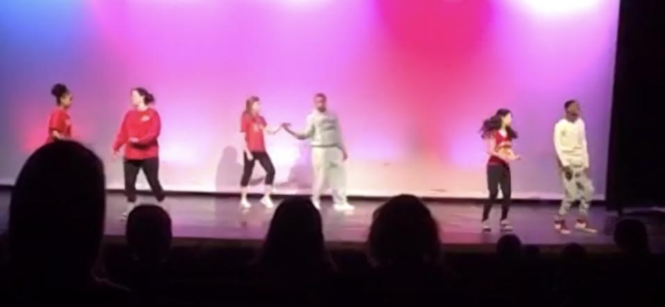 A hip hop performance at the dance jam