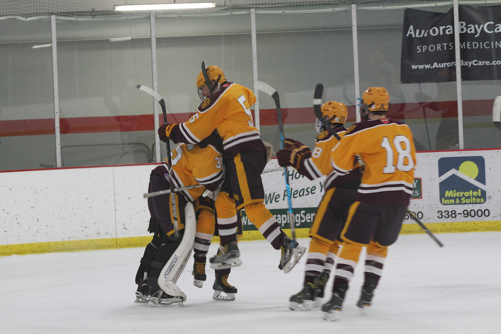Loyola Gold celebrating a 4-3 win over Notre Dame Academy (WIS).