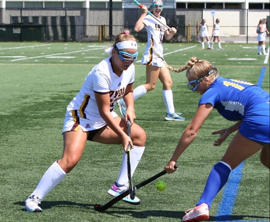 Senior Clare Lindstrom gets defensive against Lake Forest. The Ramblers were victorious in this game.