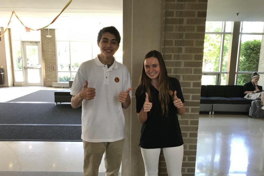 Matthew+Kelsh+and+Frannie+Whelan+give+a+thumbs+up+to+the+environment.+