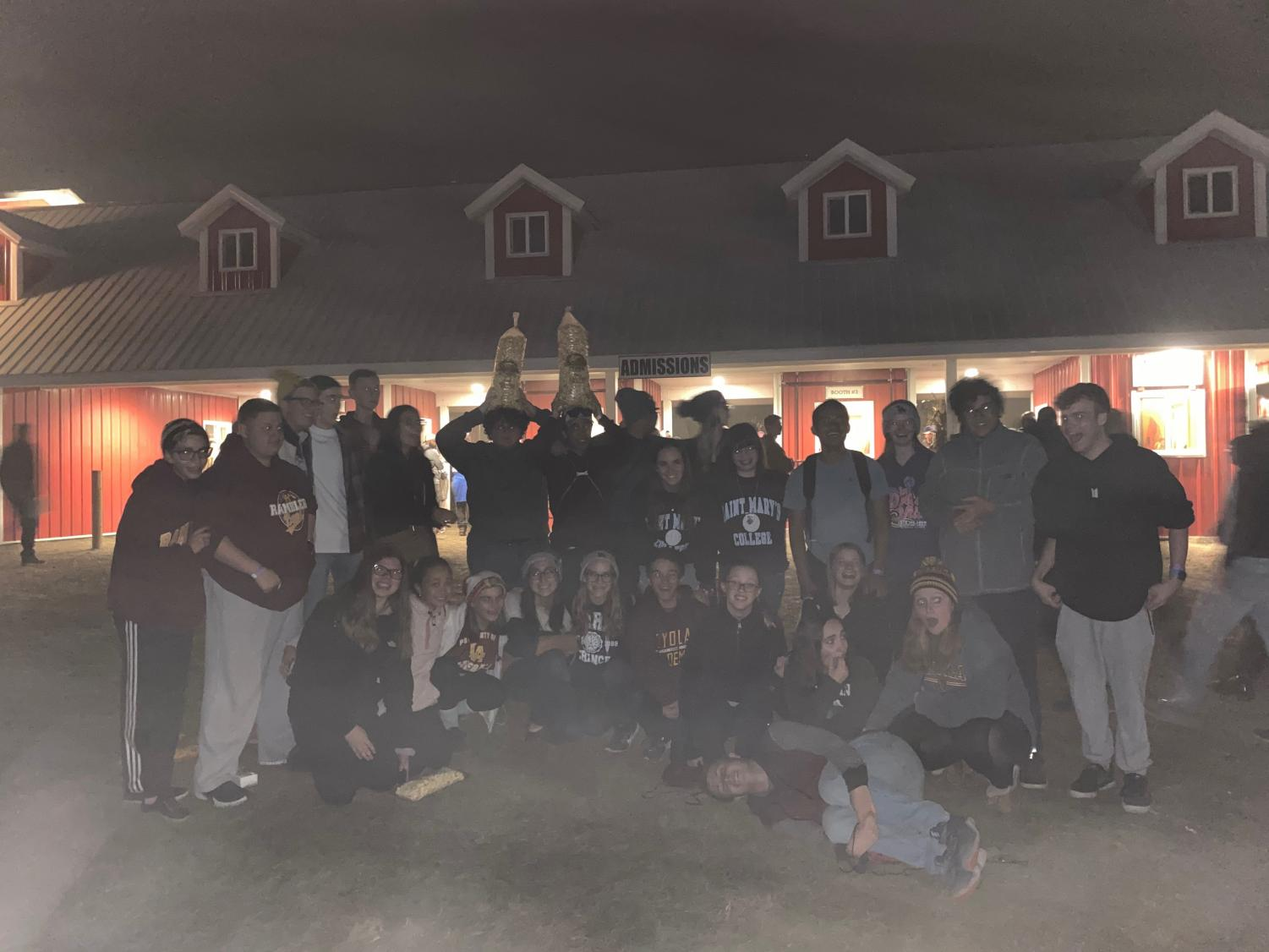 The Loyola band at the end of their trip In front of Richardson's farm.