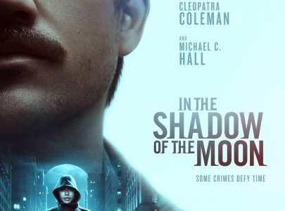Netflix movie poster for In The Shadow of the Moon. Two main characters Boyd Holbrook and Cleopatra Coleman.
