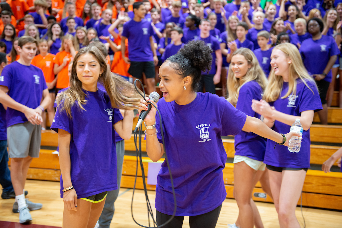 Senite uses her trademark energy to pump up the freshmen at orientation this August. During the school year, she brings that energy to a multitude of clubs and activities.