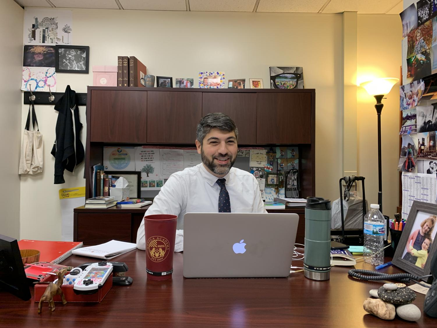 Mr. Penna, Loyola's Director of School Culture, in his office.