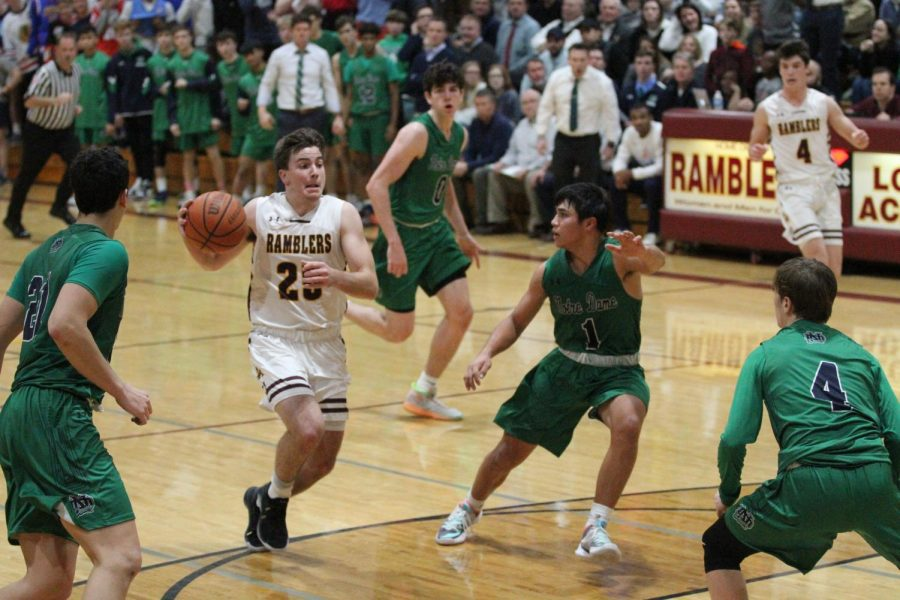 Senior Billy Palmer dribbles to the basket against Notre Dame