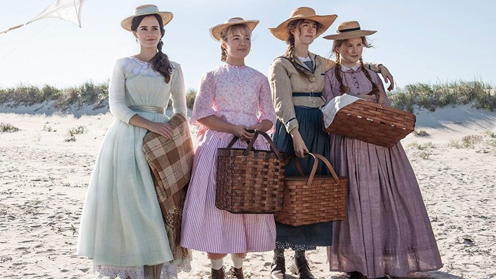 Little Women cast (from left to right), Emma Watson (Meg), Florence Pugh (Amy), Saoirse Ronan (Jo), Elizabeth Scanlen (Beth). The incredibly talented cast members portray the March sisters in the film.