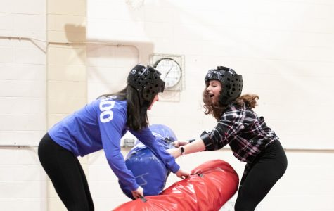 Students battle it out at the inflatable jousting activity. Late Night at Loyola had a plethora of activities to enjoy on their Saturday night.