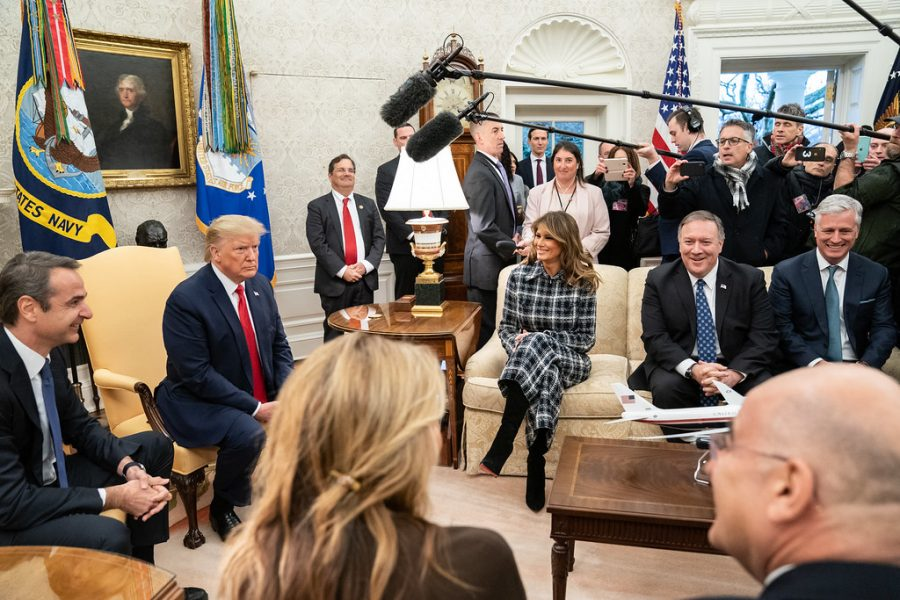 Trump meets with press in Oval Office. He was acquitted of impeachment charges.