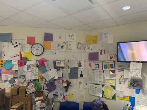 Cards full of positivity and gratitude cover the walls of the break room at Lutheran General Hospital and motivate the nurses and doctors each day.