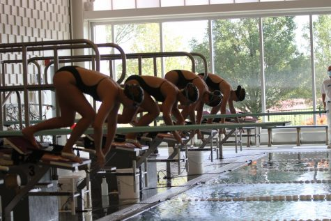 Girs Swim gets set for a virtual meet. COVID made more a different season this year.