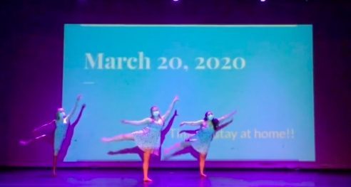 """Dancing in masks was definitely a new experience for me,"" says Audrey Cornue (far left). ""I wasn't expecting there to be dance because of COVID, but when I found out there still was, I was really excited. It was interesting, to say the least, but in the end it was fun, and a great way to be welcomed to Loyola."""